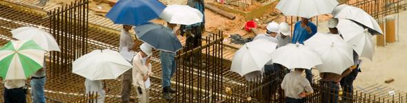 Regen auf der Baustelle