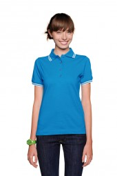 Damen Poloshirt Twin-Stripe